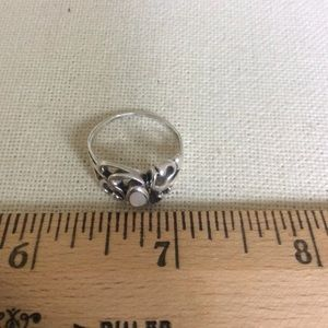 Real Silver Swirly White Stone Oval Ring